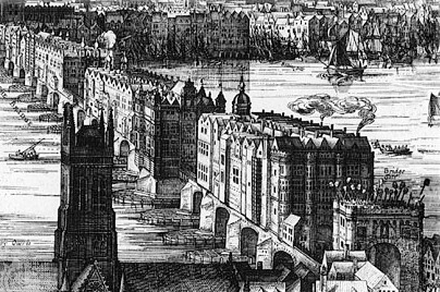 Old London Bridge, chaos on water